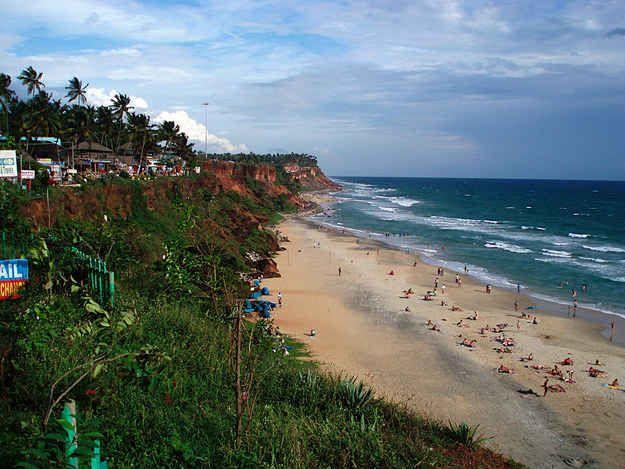 Varkala beach in Thiruvananthapuram, Kerala.