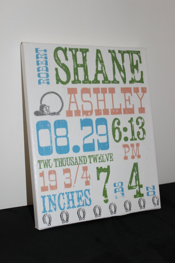 put middle name on right side of 1st name  Baby Stat Subway Canvas Print  Country by ThePaintedSunflower, $20.00