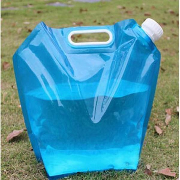 5L Flexible Collapsible Foldable Reusable Water Bag Hand Lifting Camping Hiking Outdoor Survival Bottle - 10 MINUS