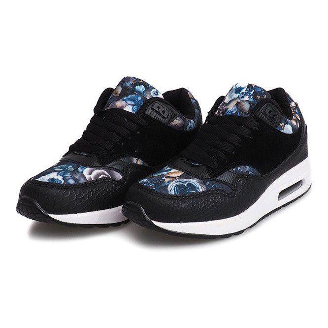 Buty Sneakersy Kwiaty R 50 Czarny Czarne Sneakers Shoes Sport Shoes