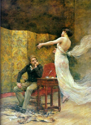 "Georges Moreau De Tours     ""Heinrich Heine and the Muse of Poetry"""