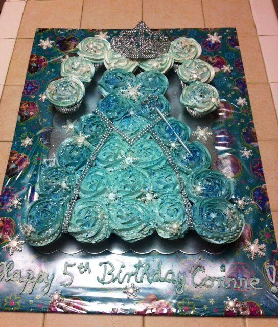'Frozen' cupcake cake Elsa's dress! The little girl loved it!!