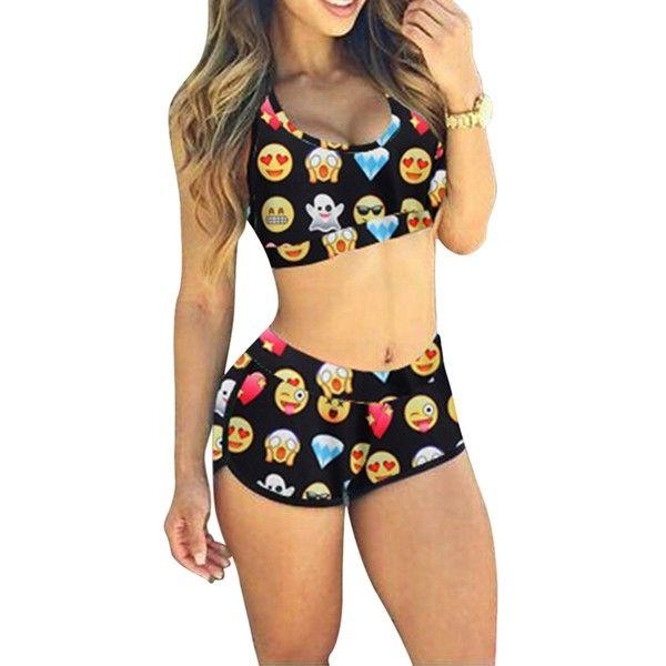 Black Emoji Printed Bikini Top & Chic Swimwear Bottom ($15) ❤ liked on Polyvore featuring swimwear, bikinis, black, black swimwear, bikini two piece, swimsuits tops, black swim top and black bikini top