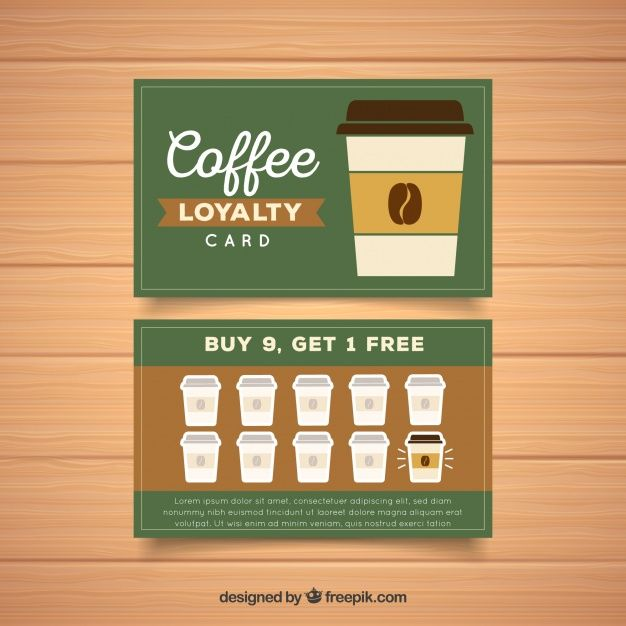 Loyalty Card Template With Coffee Coupons Loyalty Card Loyalty Card Template Free Business Card Templates