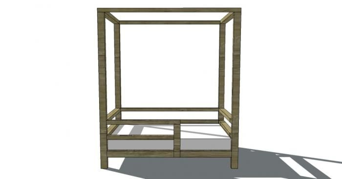 Free Woodworking Plans to Build a 2x2 Collection Toddler Canopy Bed.  for canvas tent bed perhaps?