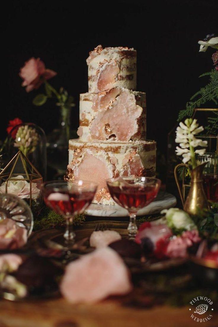 Read More on SMP: http://stylemepretty.com/vault/gallery/87639 #nakedcake #wedding #weddingcake #ohmycake #geodecake