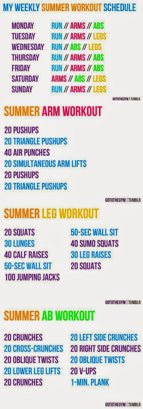 Weekly Summer Workout Schedule - this should be easy to stick to, right?
