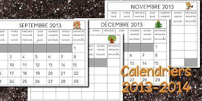 La classe de Laurène: Calendriers 2013 - 2014