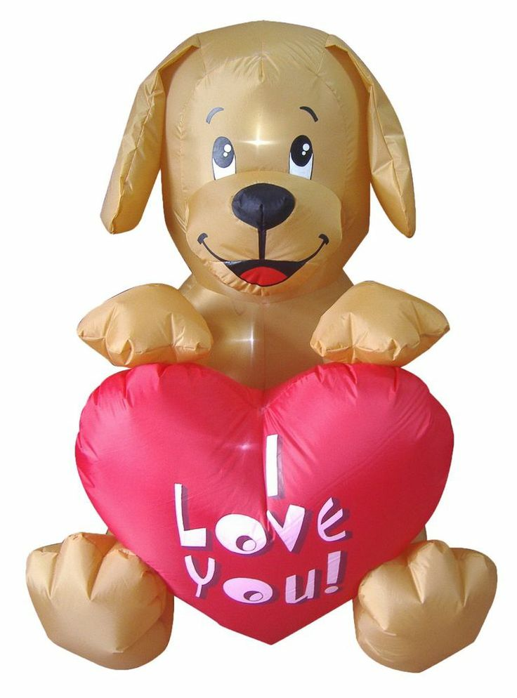 Valentines Day Inflatable Dog Puppy Heart Air Blown