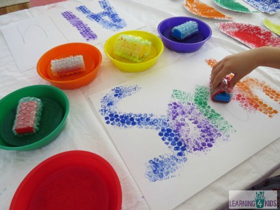 Name activities: Bubble Wrapped Blocks.  Children print over faint pencil lines to make a bubbly name picture.  Could also use for numbers and letters of the alphabet.