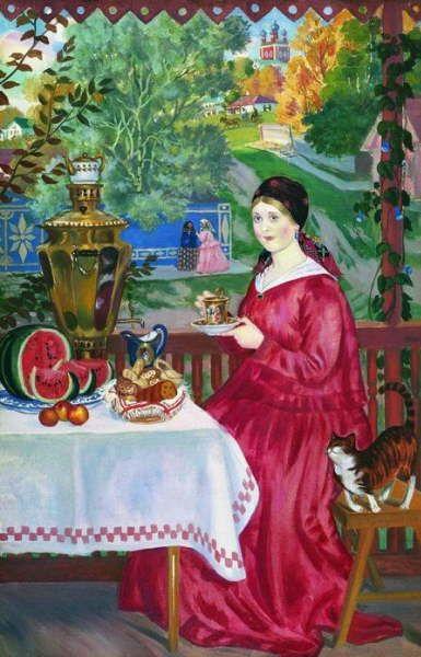 Boris Kustodiev, 'Merchant's Wife Drinking Tea'
