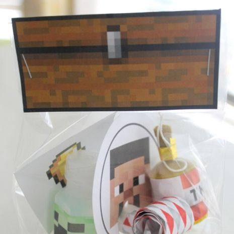 These Minecraft bag toppers are printed on a laser printer for the best quality. Hand cut and scored and ready to assemble onto the 4x8inch cellophane bag provided. Fill with goodies and treats and staple or glue the topper onto bag. Includes 12 chest bag toppers and 12 cellophane bags in each order. - See more at: http://frolicandfrills.indiemade.com/product/minecraft-chest-bag-toppers-12#sthash.HpN6MbxV.dpuf
