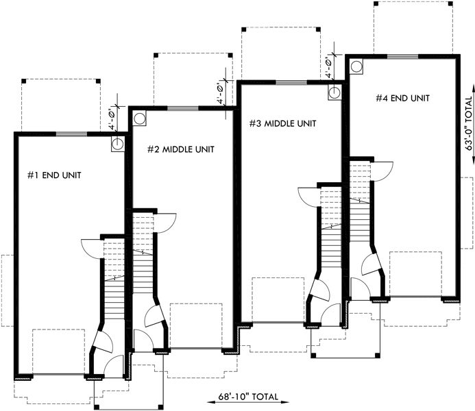 101 best triplex and fourplex house plans images on for 4 plex townhouse plans