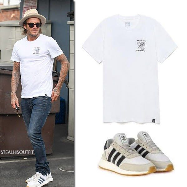 David Beckham in white t-shirt, jeans and white sneakers Los Angeles July 24 2017 Street Style
