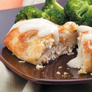Chicken Wellington - pretty tasty.  I used  2 sheets of phyllo dough per piece of chicken instead of pie crust.