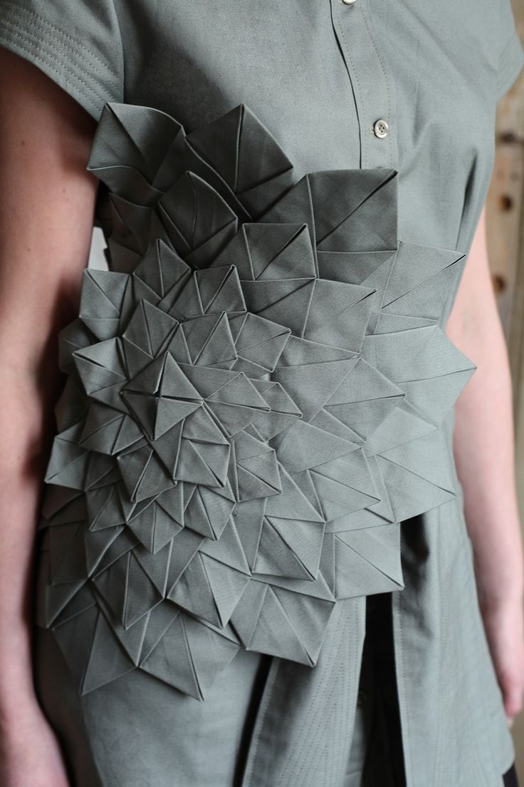 Origami Fashion - dress with folded surface pattern detail; structured fabric manipulation