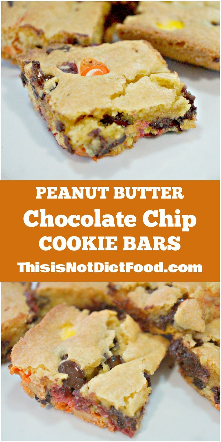 Peanut Butter Chocolate Chip Cookie Bars. Easy cake mix cookie bars with Reese's Pieces.