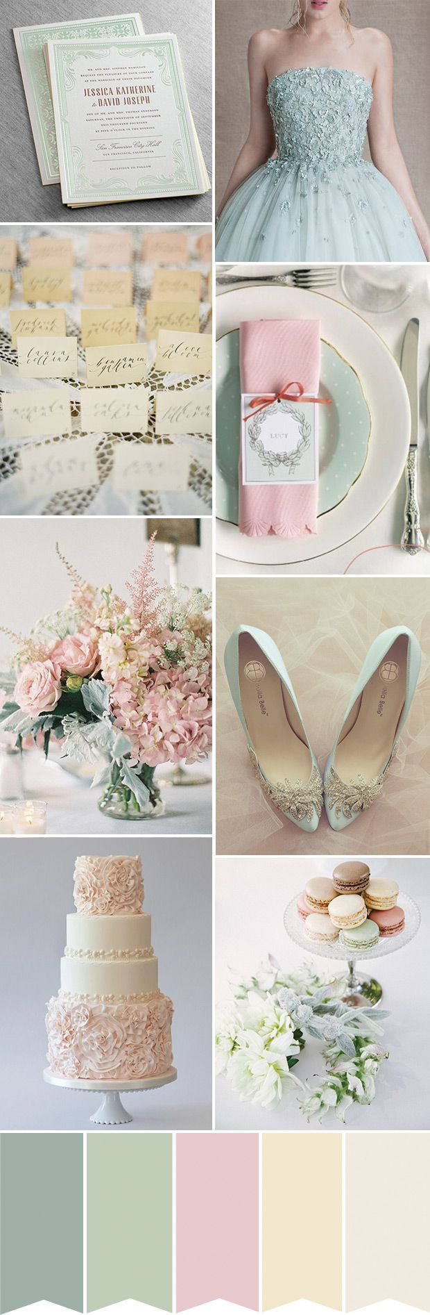 A beautifully feminine colour palette combining dusty pink and softest sage   see it all on www.onefabday.com