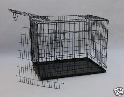 "36"" 3 Door Black Folding Dog Crate Cage Kennel w/DIVIDER - http://www.thepuppy.org/36-3-door-black-folding-dog-crate-cage-kennel-wdivider/"
