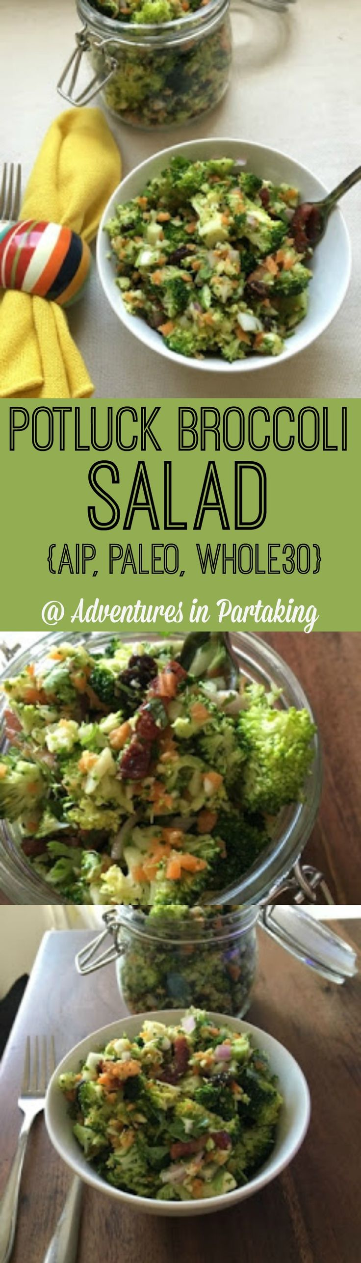 Potluck Broccoli SaladServes: 4 Time: 10 Minutes Ingredients for the salad: 1 head broccoli (smallish) - chopped into small pieces Broccoli stalk- shredded/ grated 1/2 cup shredded carrots 1 small red onion - diced 1/4 cup cilantro - chopped 4 slices bacon cooked + cooking fat 1/3 cup raisins