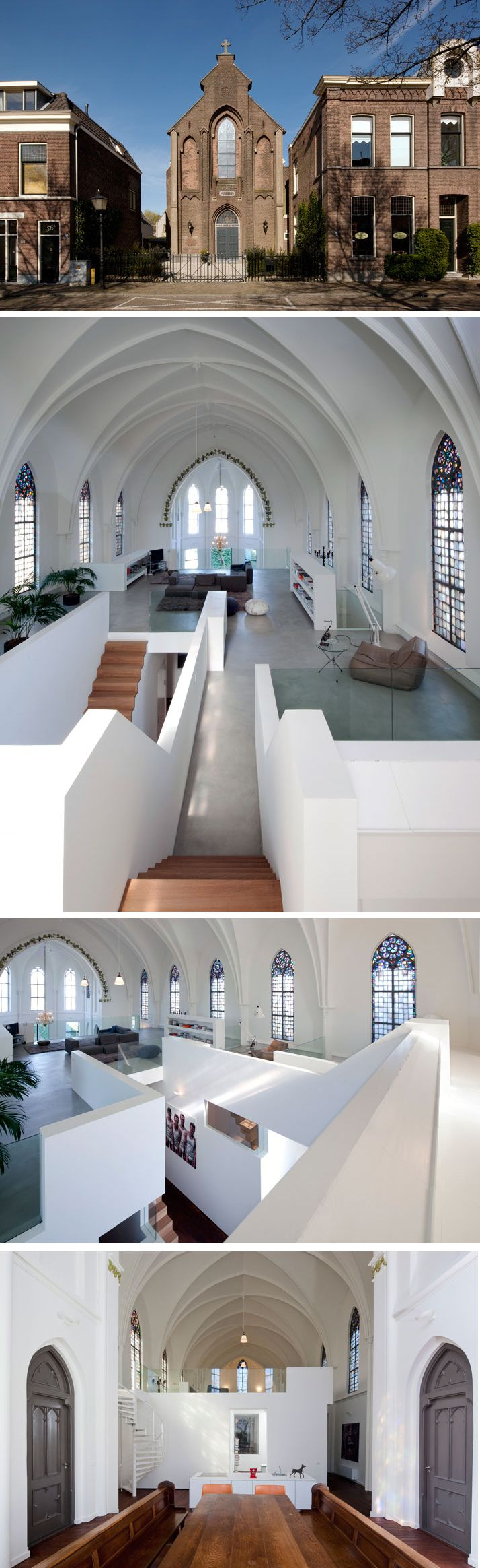 In The Netherlands there are hundreds of empty churches which have altered their function and are now given a new program, such is the case with St. Jakobus in Utrecht.  The purpose of the re-use of the church was to re-evaluate this distinguished monument with as little architectural interventions as possible to transform it into a spacious residence.