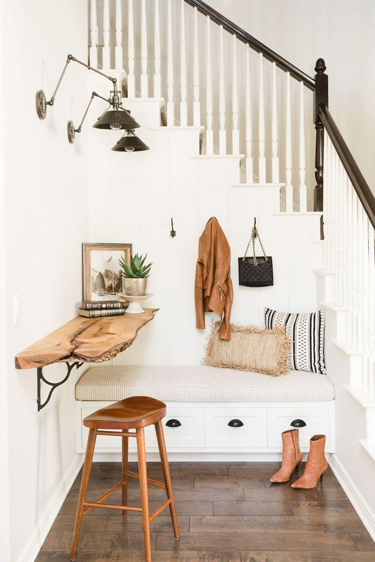 entry shelf in live edge wood