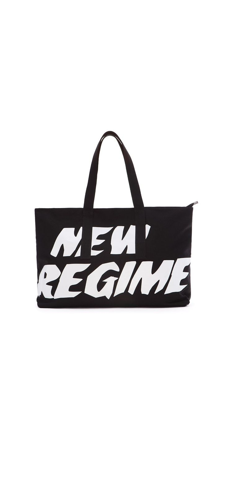 Oversized Logo Tote Bag (Black) / Made of durable canvas, this oversized tote bag is both travel and leisure friendly, and features a New Regime signature logo print in white at front and back. #fw17