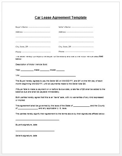 Loan Agreement Template | Microsoft Word Templates - car payment contract template