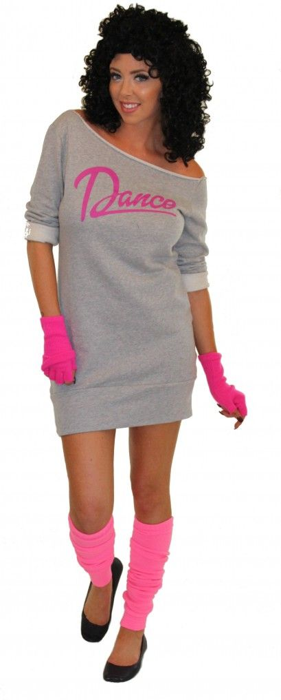 80's Flashdance Sweatshirt Dress Pink