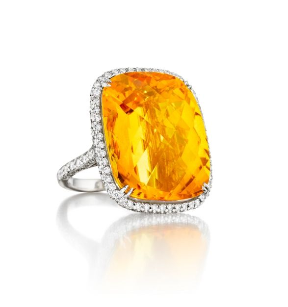 Couture Citrine Ring #stoneandstrand #citrine #mimiso #finejewelry #statementring #diamond #whitegold #shoponline #shopnow #cocktailring #ring #couture
