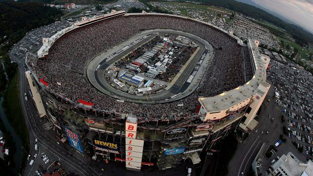BRISTOL, TN - AUGUST 25:  Cars race during the NASCAR Sprint Cup Series IRWIN Tools Night Race at Bristol Motor Speedway on August 25, 2012 in Bristol, Tennessee.  (Photo by Andrew Coppley - Pool/Getty Images for NASCAR)