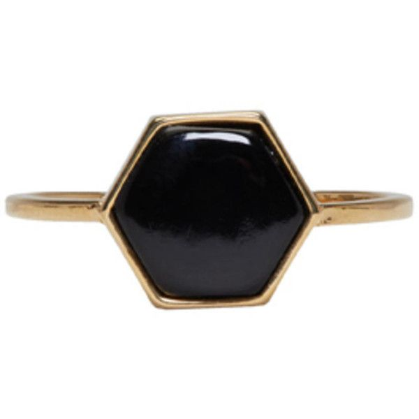 Isabel Marant Gold and Black Stone Ring ($150) ❤ liked on Polyvore featuring jewelry, rings, gold, isabel marant, band rings, thin rings, stone jewellery and stone jewelry