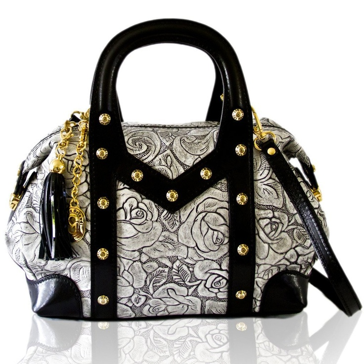 Amazon.com: Marino Orlandi Italian Designer Grey Rose-Embossed Purse Oversized Bag: Clothing