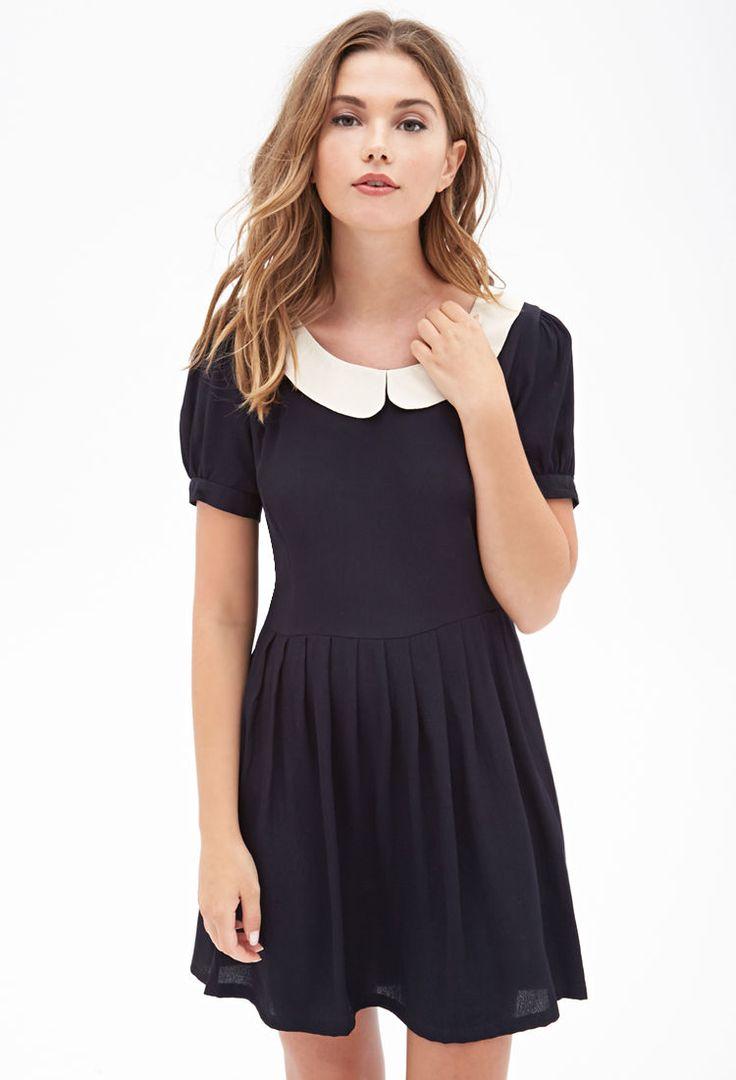 Black dress with white peter pan collar - Wednesday Addams Costume Inspiration Peter Pan Collar Dress F21statementpiece