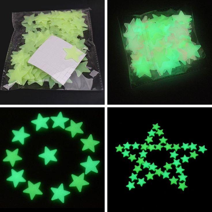 100 pz 3 cm Divertente Glow In The Dark Star per Bambini Giocattoli per Bambini Camera Da Letto Soggiorno Fluorescente Adesivi Decorazione