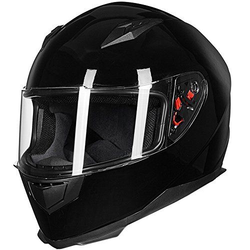 ILM Full Face Motorcycle Street Bike Helmet with Removable Winter Neck Scarf + 2 Visors DOT (L, Gloss Black). For product info go to:  https://www.caraccessoriesonlinemarket.com/ilm-full-face-motorcycle-street-bike-helmet-with-removable-winter-neck-scarf-2-visors-dot-l-gloss-black/
