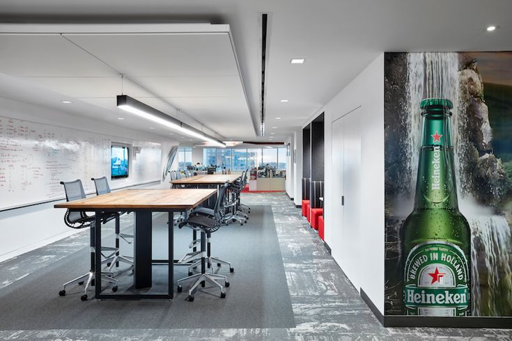 Heineken USA's new headquarters in White Plains, N.Y., consolidates the beer maker's corporate offices from two other locations. Spector Group, the primary interior architect for the redesign project, focused on two primary improvements: the expansion of the company's bar and social zones, and the enhancement and densification of the existing 60,000-sf bi-level office space.