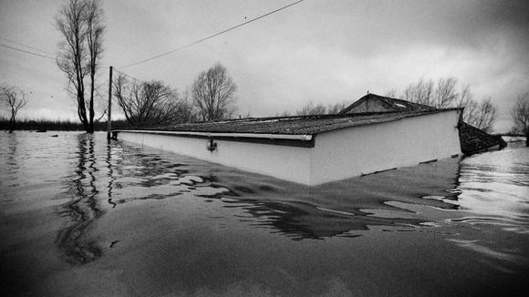 Black & white images of flood covered Somerset | courtesy of Matilda Temperley West Country (E) - ITV News