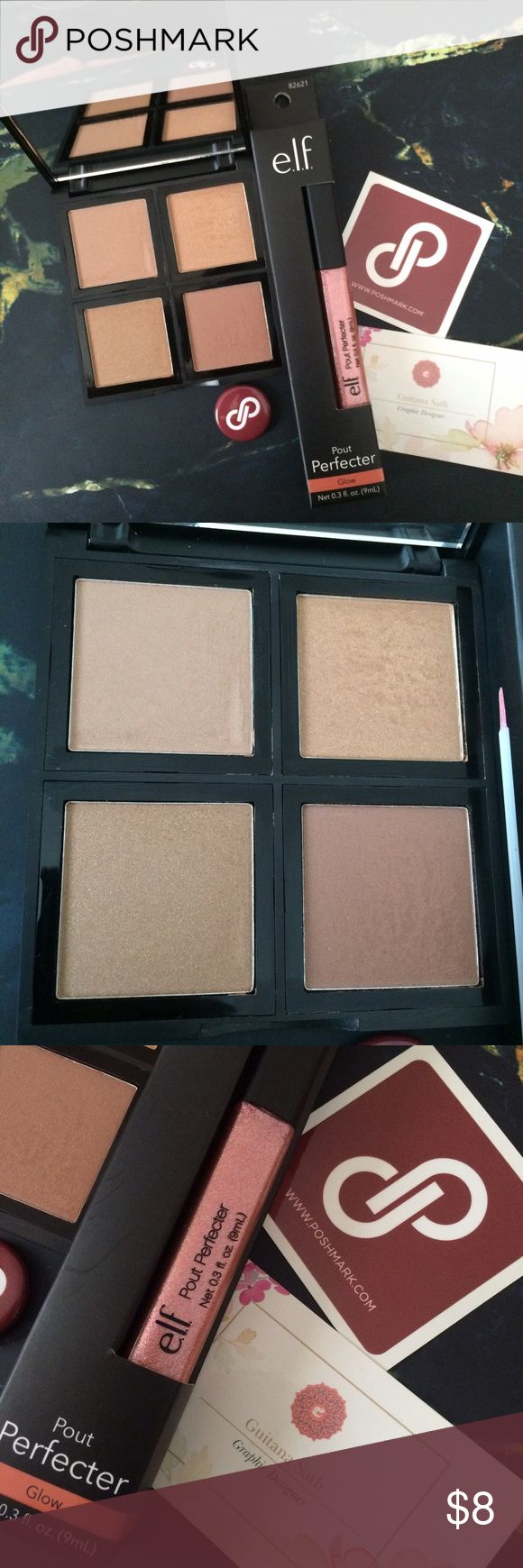 ELF BRONZER PALETTE & GLOW pout perfecter The palette was swatch & the lip gloss is new! ELF Makeup Face Powder