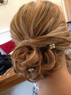 Soft tousled bun with pearl pins - Fordham Hair Design ... Wedding Bridal Hair Specialist: March 2013
