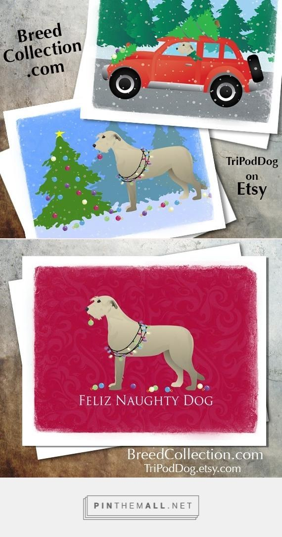 ❤ Irish Wolfhound Dog Christmas Cards from the Breed Collection - Digital Download Printable - on Etsy