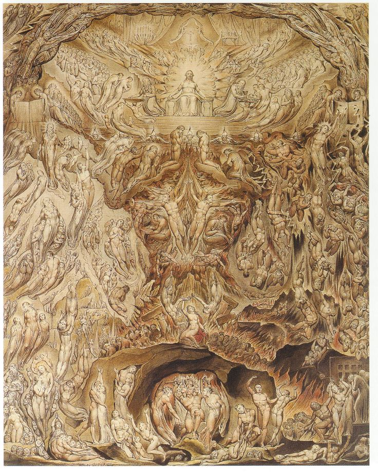 The Vision of The Last Judgment William Blake-Gece Batıyor batıdan güneş, Parlıyor akşam yıldızı; Kuşlar yuvalarında sessiz, Ben de bulmalıyım yuvamı. Ay bir çiçek adeta Gökyüzünden bir çardakta, Sessiz ve mutlu, öylece Oturmuş gülüyor gecede. Yeşil tarlalar, mutlu koru, elveda! Sürülerin keyifle gezindiği, Kuzuların otladığı yerlerde Meleklerin ayakları parlıyor şimdi. Kutsuyorlar, biz görmeden Neşe saçıyorlar durmadan, Her tomurcuğa, her çiçeğe, Uykudaki her yüreğe.