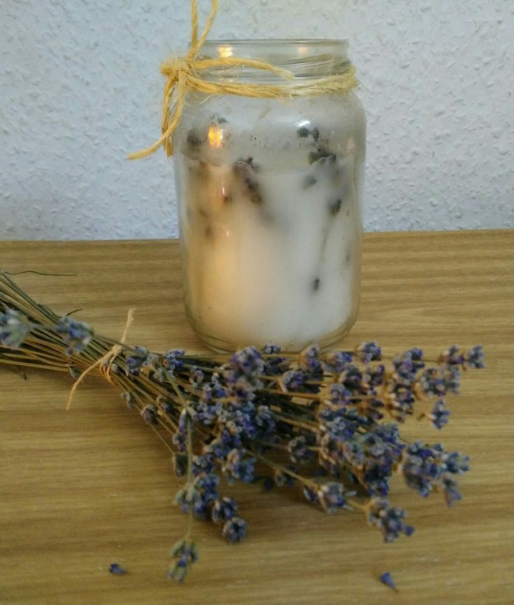 Candle in a jar with lavender