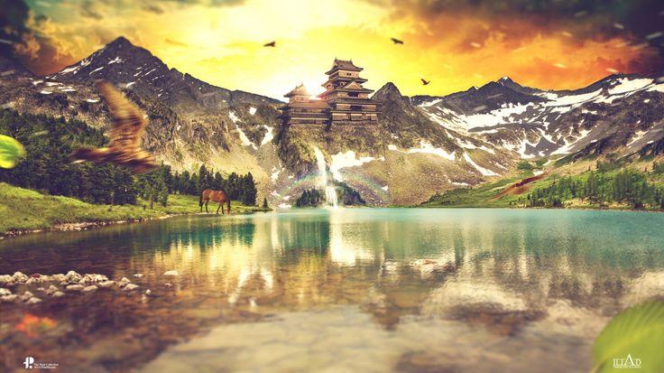 Скачать обои горы, природа, водопад, зарево, Paul Hector Theofanous, Ancient Sunrise, птицы, озеро, небо, скалы, лошадь, пейзаж, раздел рендеринг в разрешении 1366x768