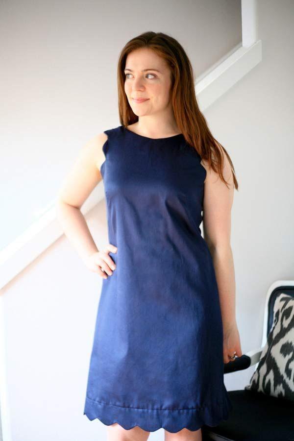 robe droite festons DIY : une robe droite à bords festonnés