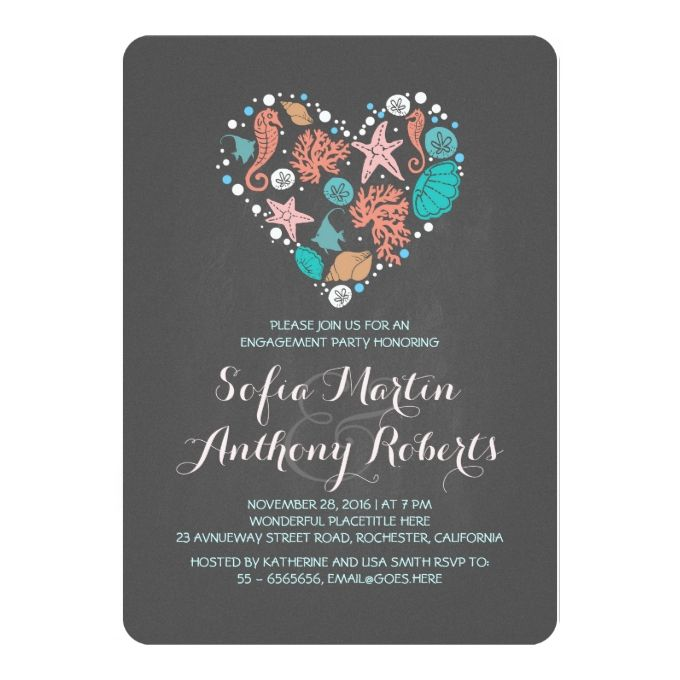 Chalkboard heart cute beach engagement party card