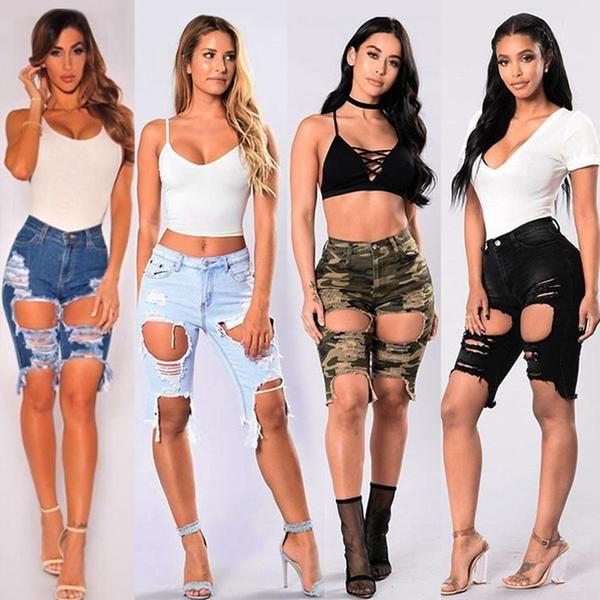 b0410bc2cb9 Sexy Ripped Denim Jeans Shorts! jean shorts