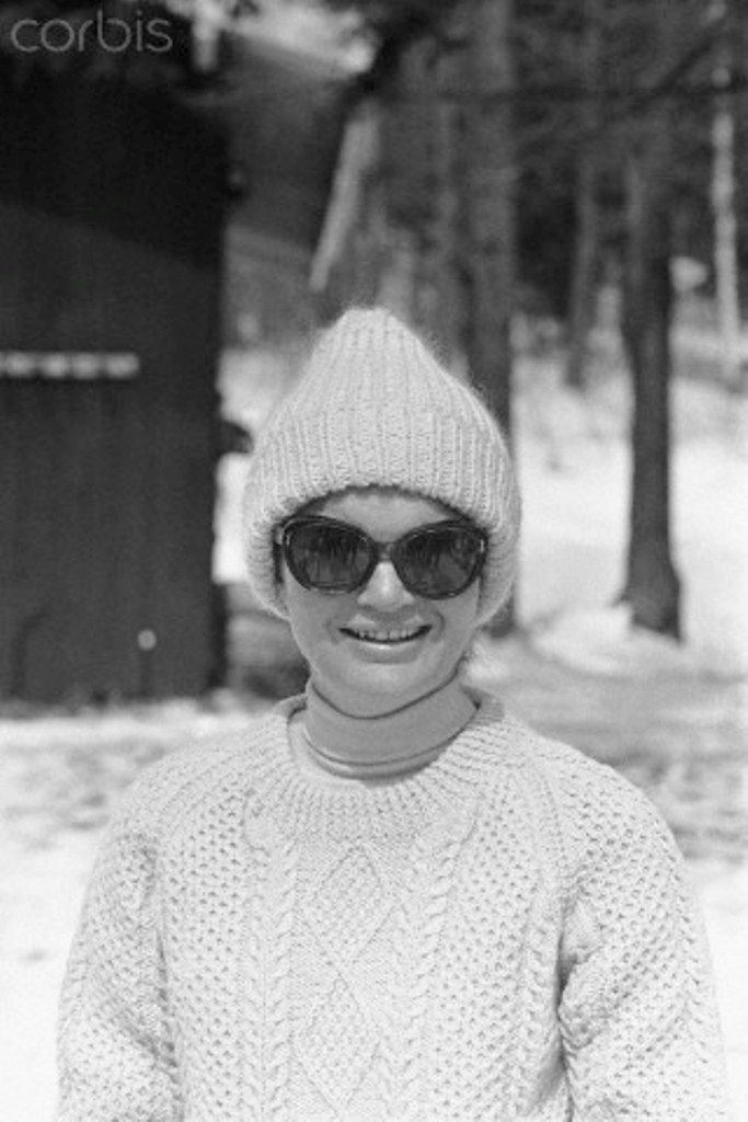 Mrs. Jacqueline Kennedy, wearing a complete ski outfit, smiles before starting a day of skiing at Mt. Mansfield, 3/28. The entire Kennedy clan are spending the Easter weekend at this winter resort.  Date:March 28, 1964. ✾❤✾❤❁❤❃ http://en.wikipedia.org/wiki/Jacqueline_Kennedy_Onassis