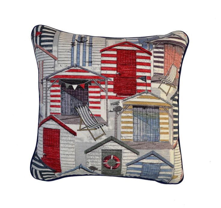 Outdoor Cushion Cover . Beach Huts . Coastal Cushions . Vintage . by JulieAlvesDesigns on Etsy