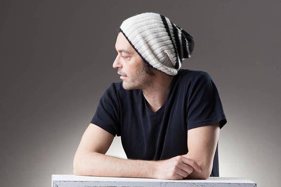 Alpaca knitted beanie, slouchy beanie, black and white beanie hat